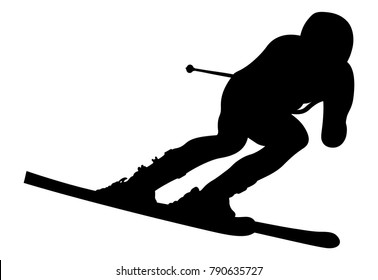 dynamic athlete skier in alpine skiing downhill