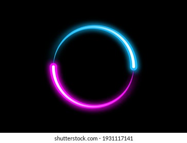 dynamic circle neon effect, Sci-Fi Futuristic Abstract Gradient Blue Purple Pink Neon Glowing Circle Round Shape Tubes. Logo design template. Vector Colorful creative sign isolated on black background
