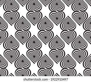 Dynamic circular seamless pattern with hearts. Psychedelic Abstract background. Optical Illusion of movement. Use for cards, wallpapers, pattern fills, web pages elements and etc.