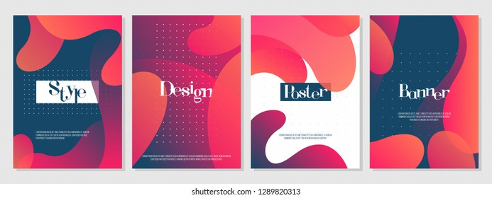 Dynamic colorful poster set with fluid shapes, bright gradients, modern concept. minimal background. ideal for banner, web, header, page, cover, billboard, brochure, print.