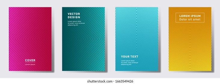 Dynamic covers linear design. Geometric lines patterns with edges, angles. Linear backgrounds for catalogues, business magazine. Line stripes graphics, title elements. Cover page layouts set.