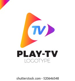Dynamic, fast Play icon with letter TV in middle. Media company logo or film production studio or audio-visual studio or on-line media. rainbow and blue gradient