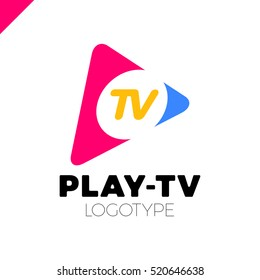 Dynamic, fast Play icon with letter TV in middle. Media company logo or film production studio or audio-visual studio or on-line media.