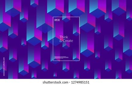 Dynamic geometric background. Cubes pattern design. Eps10 vector.