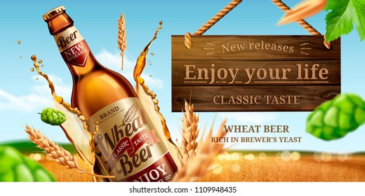 Dynamic glass bottle wheat beer ads with hops and splashing liquid in 3d illustration, bokeh golden wheat field background
