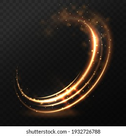 Dynamic golden lines with glow effect. Rotating shining rings. Abstract glittering swirl, wave