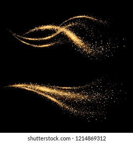 Dynamic golden waves with small particles. Shimmering star dust trail. Abstract motion. Magic swirl lines
