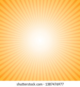 Dynamic gradient abstract sunray background - orange motion vector illustration from radial stripe pattern