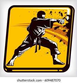 Dynamic icon of martial arts fighter