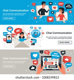 Dynamic interactive communication chat messages symbols with electronic mobile devices 3 horizontal banners design isolated vector illustration