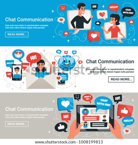 Dynamic Interactive Communication Chat Messages Symbols Stock Vector