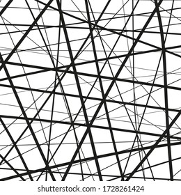 Dynamic intersecting lines. Random chaotic lines. Abstract  vector illustration.
