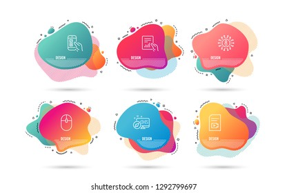 Dynamic liquid shapes. Set of Computer mouse, Video file and Document icons. Mobile survey sign. Pc equipment, Vlog page, File with diagram. Phone quiz test.  Gradient banners. Fluid abstract shapes