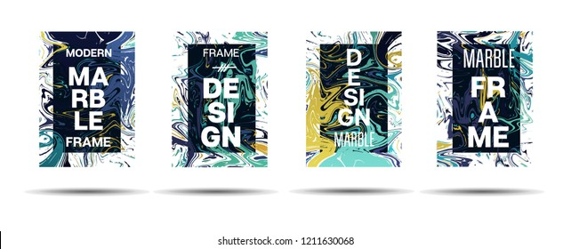 Dynamic Marble Texture Frame Vector Design. Suminagashi Liquid Paint Ad, Music, Party Poster, Motivational Card, Cover Background. Gradient Overlay Border, Vibrant Vector Marble Texture Design