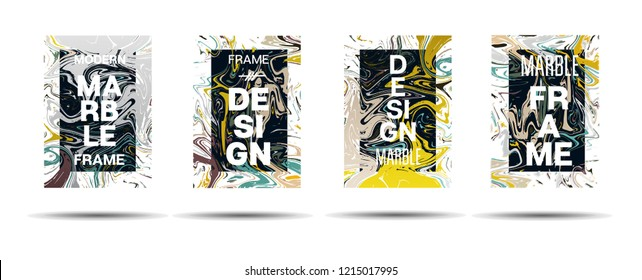 Dynamic Marble Texture Frame Vector Layout. Liquid Paint Suminagashi Futuristic Ad, Music Poster, Motivational Card, Cover Background. Abstract Marble Texture Design with Text, Gradient Overlay Border