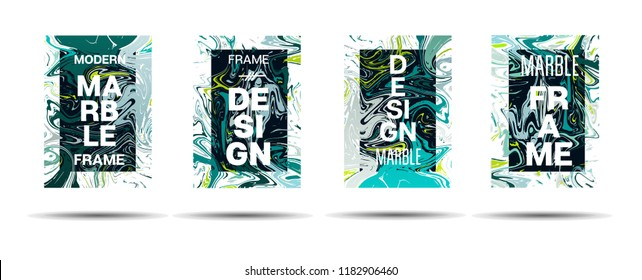 Dynamic Marble Texture Vector Frame Design. Liquid Paint Suminagashi Ad, Music, Party Poster, Congratulations Card, Cover Background. Gradient Overlay Border, Fluid Liquid Paint Vector Marble Texture