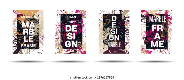Dynamic Marble Texture Vector Frame Design. Suminagashi Liquid Paint Futuristic Ad, Music Poster, Motivational Card, Cover Background. Gradient Overlay Border, Corporate Identity Vector Marble Texture