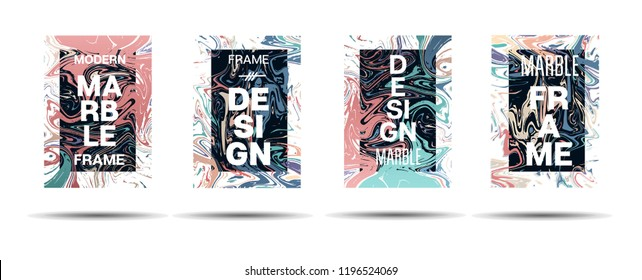 Dynamic Marble Texture Vector Frame Design. Suminagashi Holographic Liquid Paint Ad Music Poster, Motivational Card, Cover Background. Gradient Overlay Border, Dreamy Vector Marble Texture Design