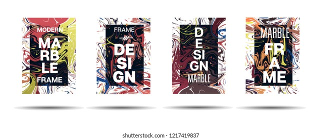 Dynamic Marble Texture Vector Frame Design. Suminagashi Liquid Paint Technical Ad, Music Poster, Motivational Card, Cover Background. Gradient Overlay Border, Fluid Liquid Paint Vector Marble Texture