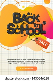 Dynamic modern fluid mobile for Back to School Sale banner. School Sale banner template design, Flash sale special offer and can use for instagram