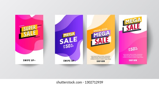 Dynamic modern fluid mobile Sale banners. Sale banner template design, Big sale special offer set