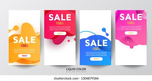 Dynamic modern fluid mobile Sale banners. Sale banner template design, Big sale special offer set