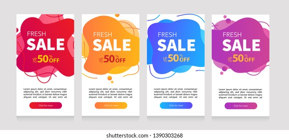 Dynamic modern fluid mobile for sale banners. Sale banner template design, Flash sale special offer set and can use for instagram