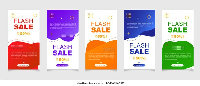 Dynamic modern fluid mobile for sale banners. Sale banner template design, vector greeting card, flash sale special offer set