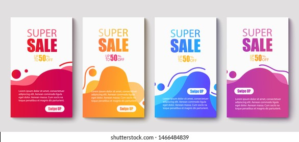 Dynamic modern fluid mobile for sale banners. Sale banner template design, Super sale special offer set.Vector illustration
