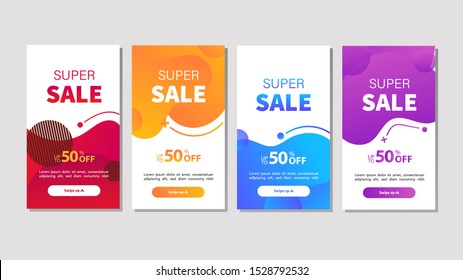 Dynamic modern fluid mobile for sale banners. Sale banner template design, Super sale special offer set. Vector illustration