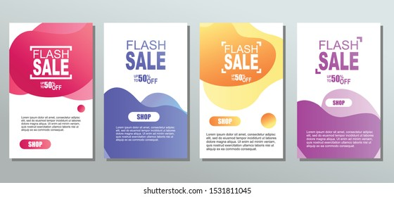 Dynamic modern fluid mobile for sale banners. Sale banner colorful template design, Flash sale special offer set. EPS Vector illustration