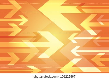 Dynamic orange background of opposing arrows in a variety of sizes facing towards each other