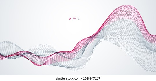 Dynamic particles sound wave flowing. Dotted curves vector abstract background. Beautiful 3d wave shaped array of blended points.