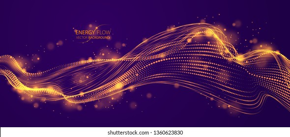 Dynamic particles sound wave flowing over dark. Dotted curves vector abstract background. Beautiful 3d wave shaped array of shining blended points.