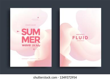 Dynamic poster design with fluid 3D shapes. Light Minimal background for banner, flyer, cover, brochure. Vector illustration