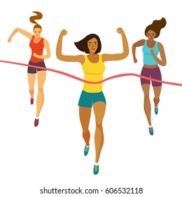 Dynamic running girls crossing finish line.Competition event. Sport and healthy lifestyle illustration for your design.