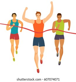 Dynamic running men crossing finish line.Competition event. Sport and healthy lifestyle illustration for your design.