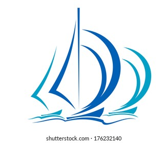 Dynamic sailboats logo racing before the wind across the ocean in shades of blue over white