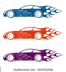 Dynamic silhouette of the car, logo automotive topics