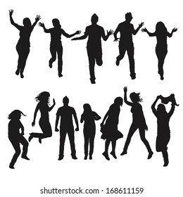 Dynamic silhouette of people