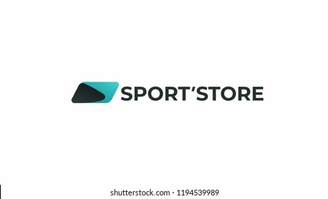 Dynamic sports logo. Simple abstract wing store icon. Fitness, speed, gym symbol.