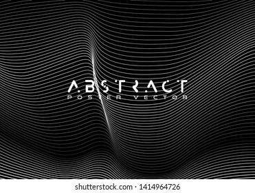 Dynamic Stripes in Movement Conceptual Illustration. Bright abstract background with a dynamic waves of minimalist style. Science backdrop with a matrix of arows with magnitude and direction.