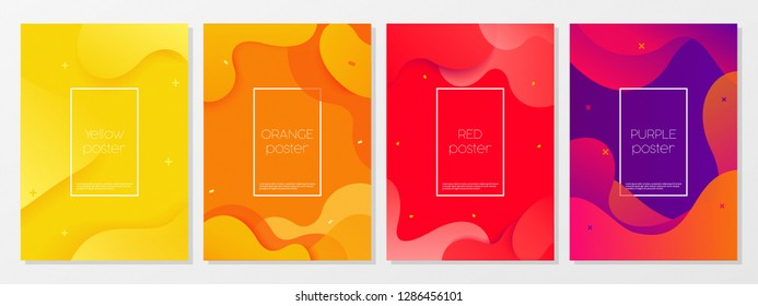 Dynamic style A4 size poster design concept. Fluid elements with bright gradient. Creative illustration for banner, web, landing, page, cover, ad, greeting, card, promotion, print.