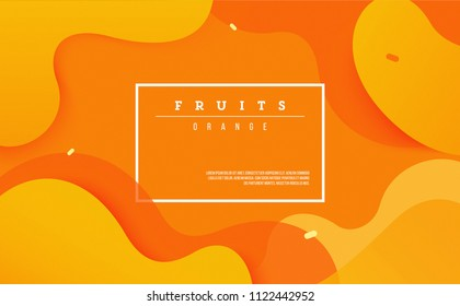 Dynamic style banner design from fruit concept. Orange elements with fluid gradient. Creative illustration for poster, web, landing, page, cover, ad, greeting, card, promotion.