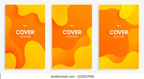 Dynamic style banner design set with fluid orange gradient elements. Creative illustration for poster, web, landing, page, cover, ad, greeting, card, social media, promotion.