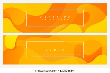 Dynamic style cover design set. Orange elements with fluid gradient concept. Creative illustration for poster, web, landing, page, cover, social media, ad, greeting, card, promotion.