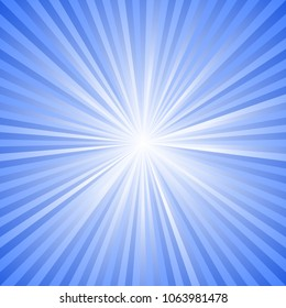 Dynamic sunburst background - blue motion vector graphic with radial stripe pattern
