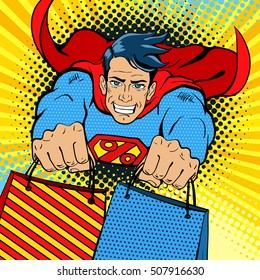 Dynamic superhero. Young handsome happy man in a superhero costume with a percent sign on the chest flies with shopping bags. Vector illustration in retro pop art comic style.