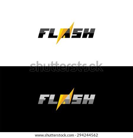 dynamic text logo lightning word flash stock vector royalty free