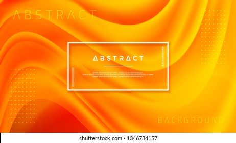 Dynamic textured background design in 3D style with orange color. Fluid, liquid gradient vector background.